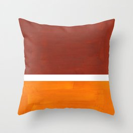 Burnt Sienna Yellow Ochre Rothko Minimalist Mid Century Abstract Color Field Squares Throw Pillow