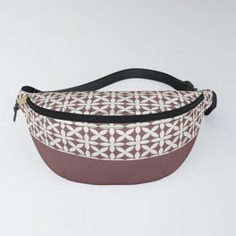 Pantone Cannoli Cream Square Petal Pattern on Pantone Red Pear Fanny Pack