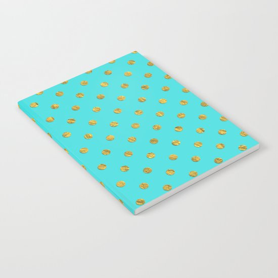 Gold glitter polka dots on turquoise backround pattern Notebook