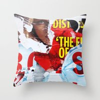 watchmen Throw Pillows featuring Who Watches The Watchmen? by Joel Lambeth