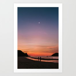 Tropical Moonlit Beach Sunset in the Philippines Art Print