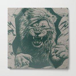Angry Male Lion pattern graphics kazakh al fabric Metal Print