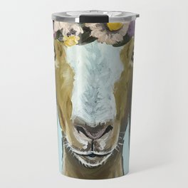 Goat Art, Flower Crown Animal, Cute Goat Painting Travel Mug