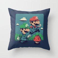 un-super bros Throw Pillow