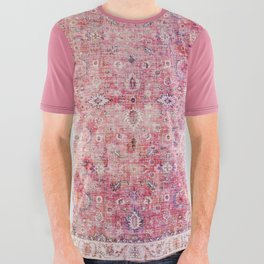 N45 - Pink Vintage Traditional Moroccan Boho & Farmhouse Style Artwork. All Over Graphic Tee