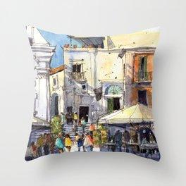 Strolling in Capri Throw Pillow