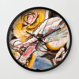 Water Color Dragon and Peonies Wall Clock