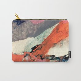 Fire and Ice - an abstract mixed media piece in pink, red, gray, blue, and white Carry-All Pouch