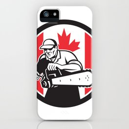 Canadian Tree Surgeon Chainsaw Canada Flag iPhone Case
