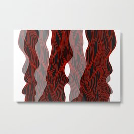 Parallel Lines No.: 03. - Red Lines, Symmetrical Metal Print