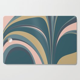 Teal Leaves Cutting Board