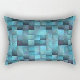 Tiled Pattern Shades Of Blue Rectangular Pillow