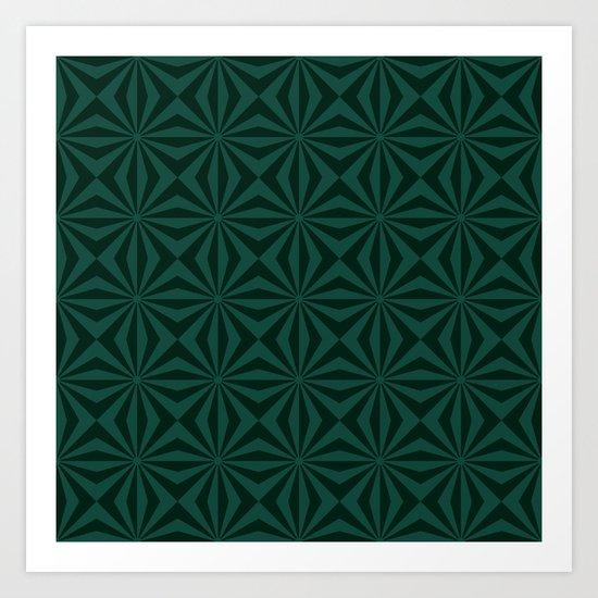 Sunbeams in Green tiled Art Print