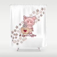 piglet Shower Curtains featuring Piglet Loves Coffee by DMiller