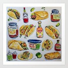 tacos burritos hot sauce and salsa Art Print