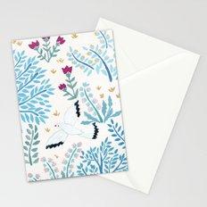 white birds garden Stationery Cards