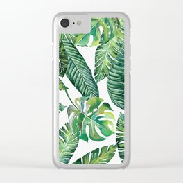 Jungle Leaves, Banana, Monstera #society6 Clear iPhone Case