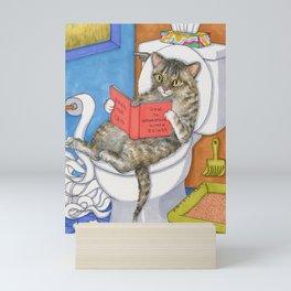 Cat on toilet Mini Art Print