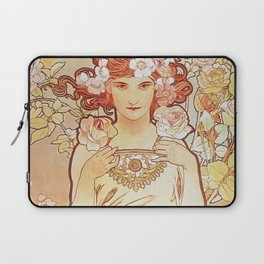 Rose by Alphonse Mucha 1897 // Vintage Girl with Red Hair Floral Love Design Laptop Sleeve