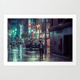 The Smiling Man // Rainy Tokyo Nights Art Print