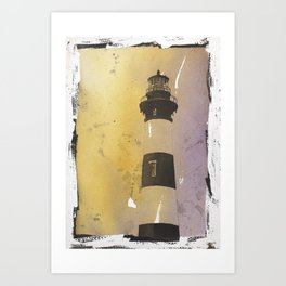 Bodie Island lighthouse at sunset in the Outer Banks (OBX) of North Art Print