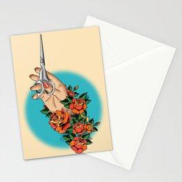 Tattoo-Hand, Scissors, Flowers Stationery Cards