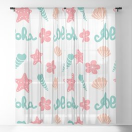 summer pattern background with hand drawn lettering aloha word, seashells, starfishes and flowers Sheer Curtain