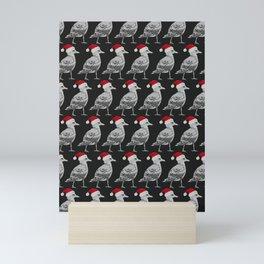 Seagull Santas in Black Mini Art Print
