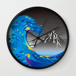 Hokusai Great Wave & Mt. Fuji in the Rainy Sky Wall Clock