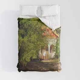 Buddhist Temple on the Mekong River Bank, Laos Duvet Cover
