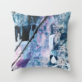 Breathe [4]: colorful abstract in black, blue, purple, gold and white Throw Pillow