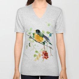 American Robin bird art Unisex V-Neck