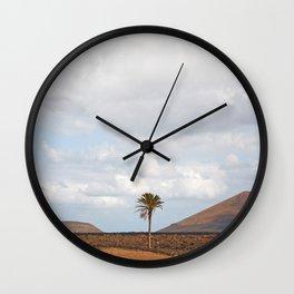 Lanzarote Palm tree landscape Wall Clock