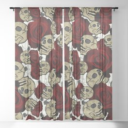 Red Roses & Skulls Black Floral Gothic White Sheer Curtain