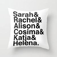 orphan black Throw Pillows featuring Orphan Black by Elanor Jarque