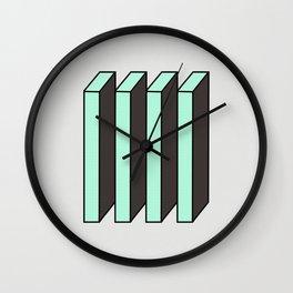 Mint and Chocolate Bricks Wall Clock