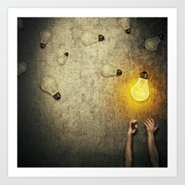 light bulbs juggling Art Print