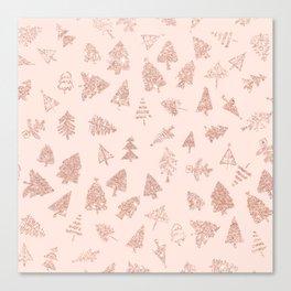 Modern rose gold glitter Christmas trees pattern on blush pink Canvas Print