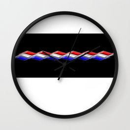 Rectilinear wave ....red,blue white closed. Wall Clock
