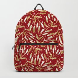 Christmas colorful pattern. Gold sprigs on a red background. Backpack