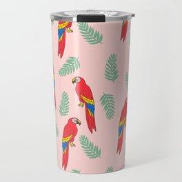 Macaw parrot tropical bird jungle animal nature pattern Travel Mug