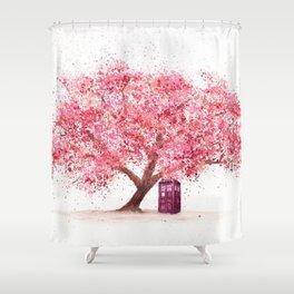 Tardis Tree Art Blossom Shower Curtain