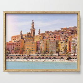 Old village of Menton French Riviera in summer Serving Tray