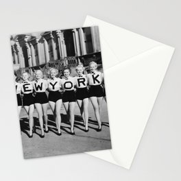 The Girl with New York shirt in a line, lovely girls on the street - mid century vintage photo Stationery Cards