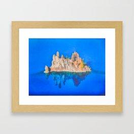 Phantom Ship Island Crater Lake Art by Priya Ghose Framed Art Print