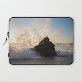 Waves hitting a rock at School House Beach, Bodega Bay California Laptop Sleeve