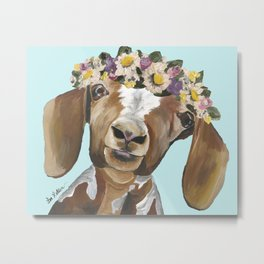 Flower Crown Goat, Cute Goat Metal Print