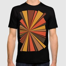 70's Star Burst LARGE Black Mens Fitted Tee