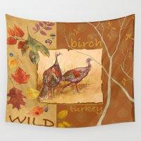 turkey Wall Tapestries featuring Wild Turkey by Edith Jackson-Designs
