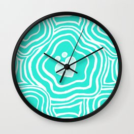 'I Love You Umlaut' Valentine's Pattern - Teal Pale Sea Wall Clock